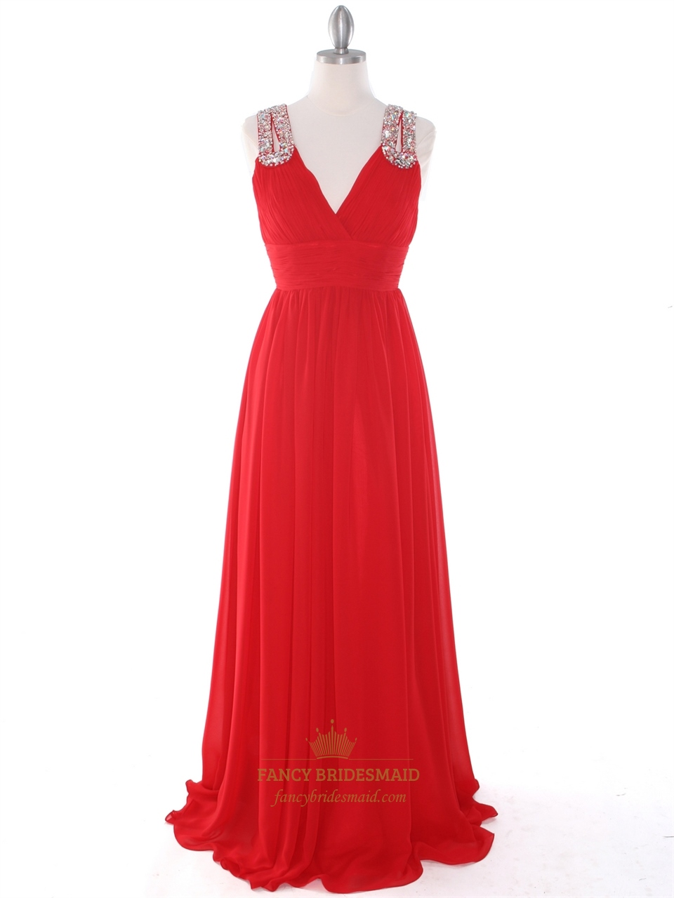 bf5f4ad94f Red A-Line V-Neck Chiffon Sleeveless Prom Dress With Rhinestone Straps SKU  -NW543