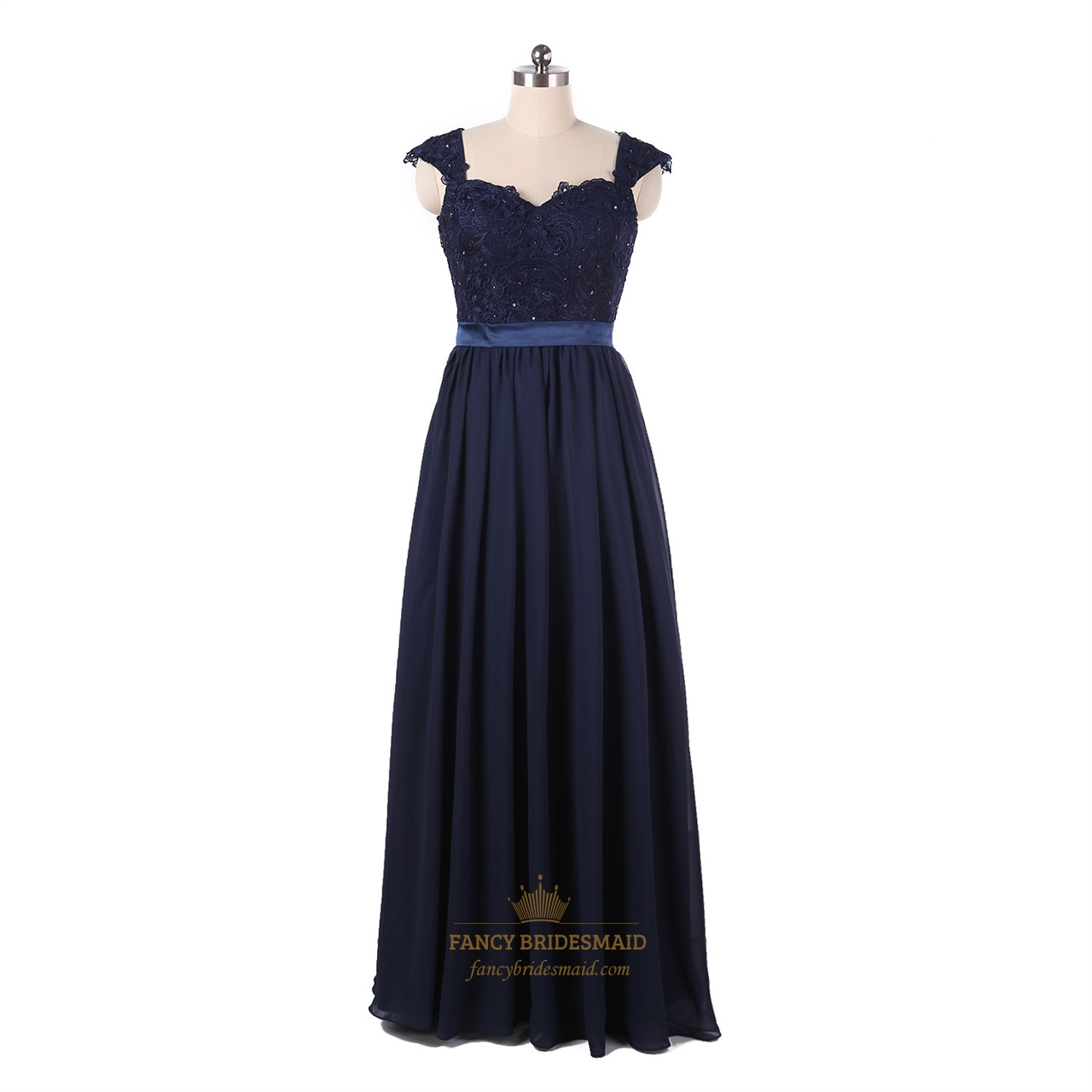 Long navy blue chiffon lace bodice bridesmaid dresses with for Long navy dress for wedding