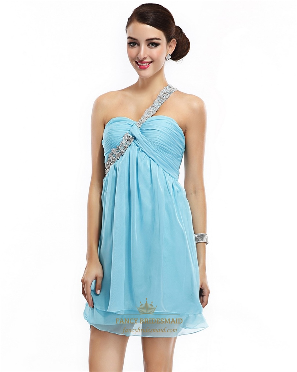 Aqua Empire Waist Short Chiffon Cocktail Dress With Single Beaded ...
