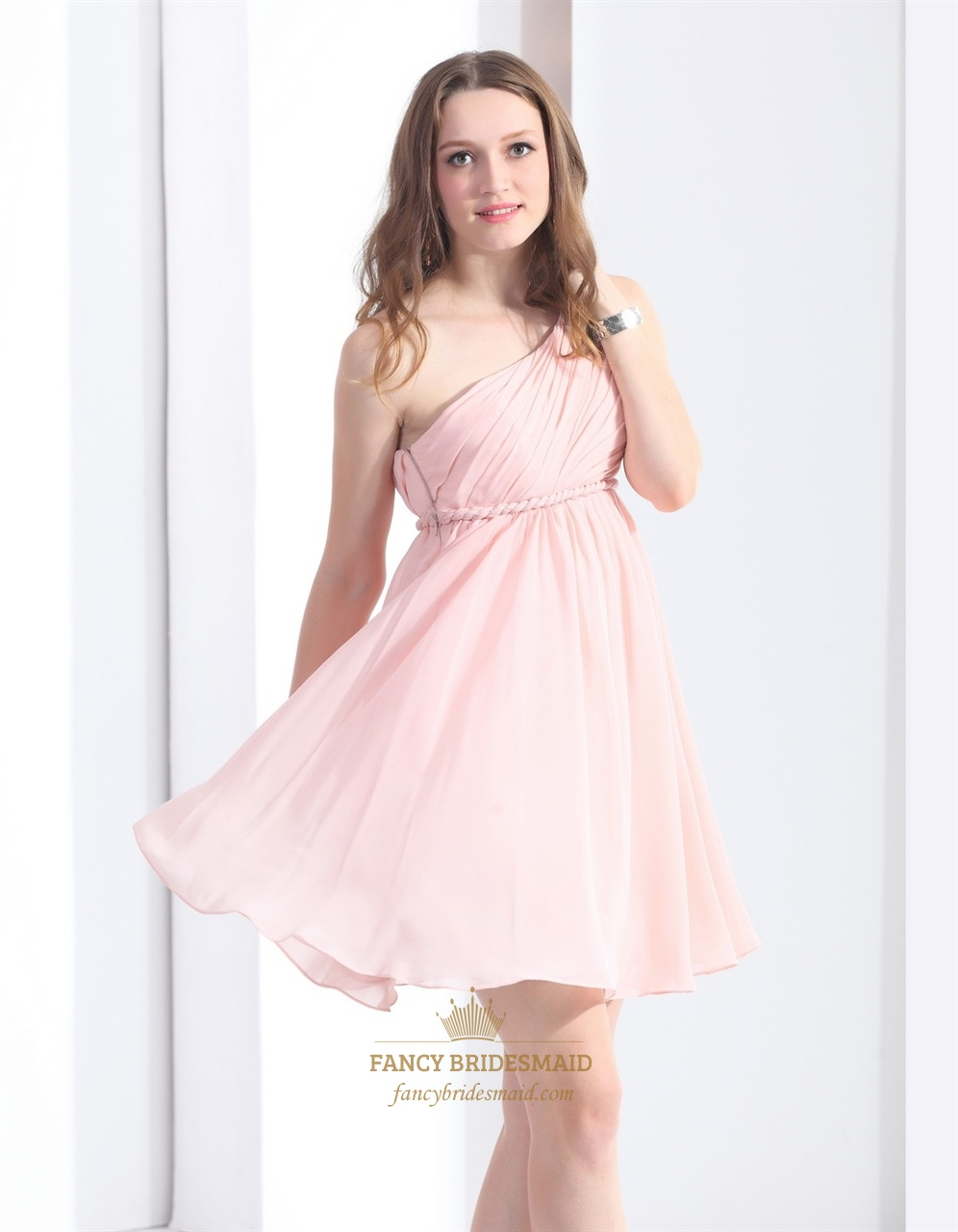 light pink aline one shoulder short chiffon cocktail