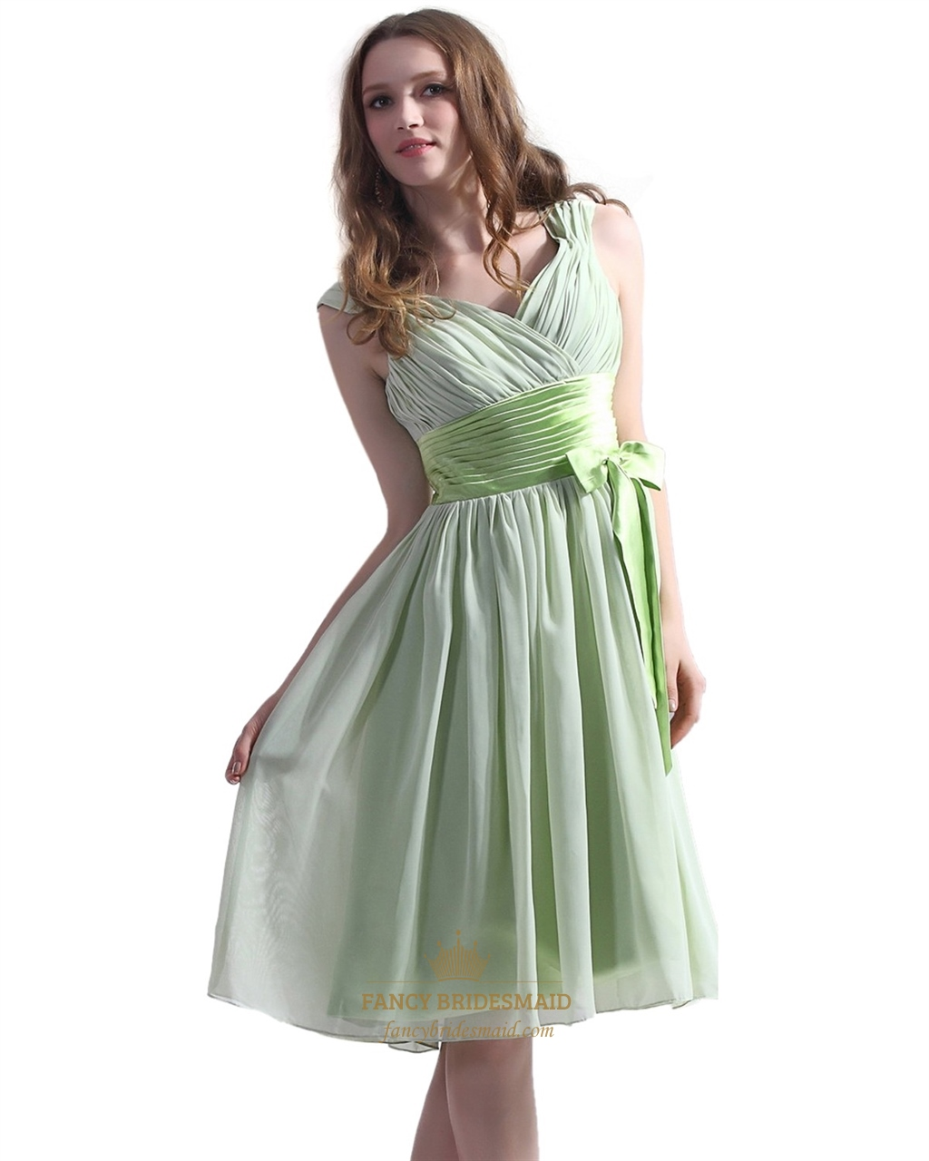 Sage green chiffon v neck knee length bridesmaid dress with bow sage green chiffon v neck knee length bridesmaid dress with bow detail ombrellifo Gallery