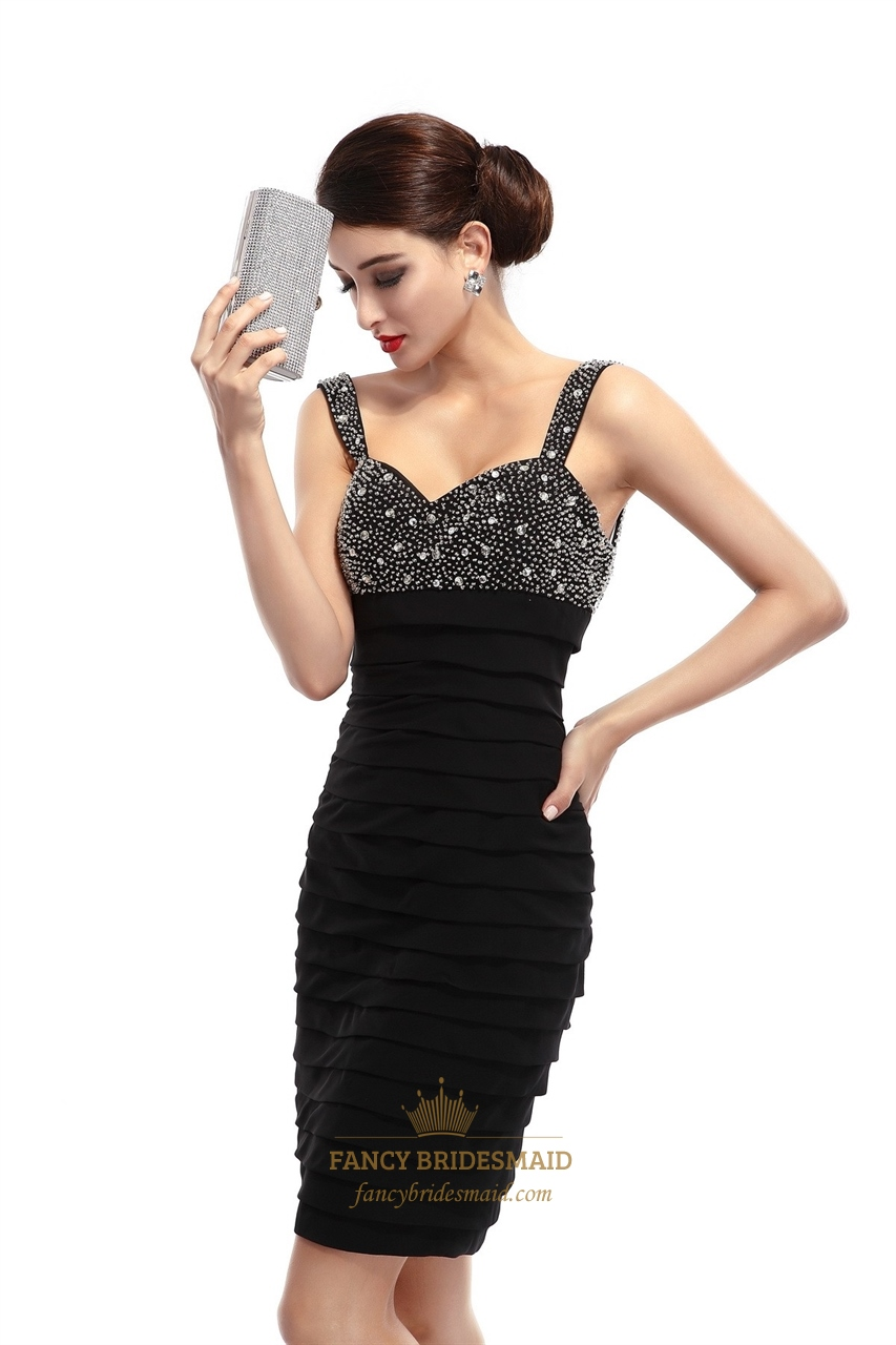 Black Chiffon Open Back Party Dress With Beaded Neckline ...
