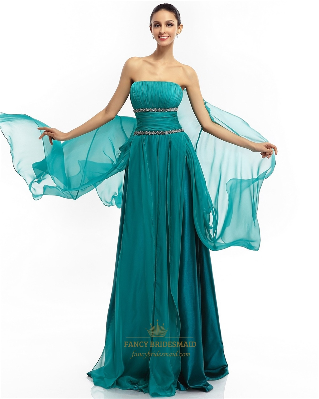 Teal Chiffon Strapless Ruffled Skirt Prom Dresses With Beaded ...
