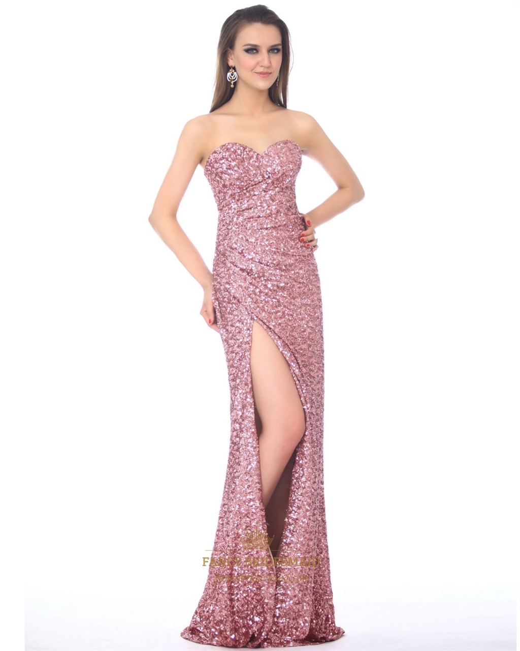 Pink Strapless Sweetheart Sequin High Slit Prom Dress With A Side ...
