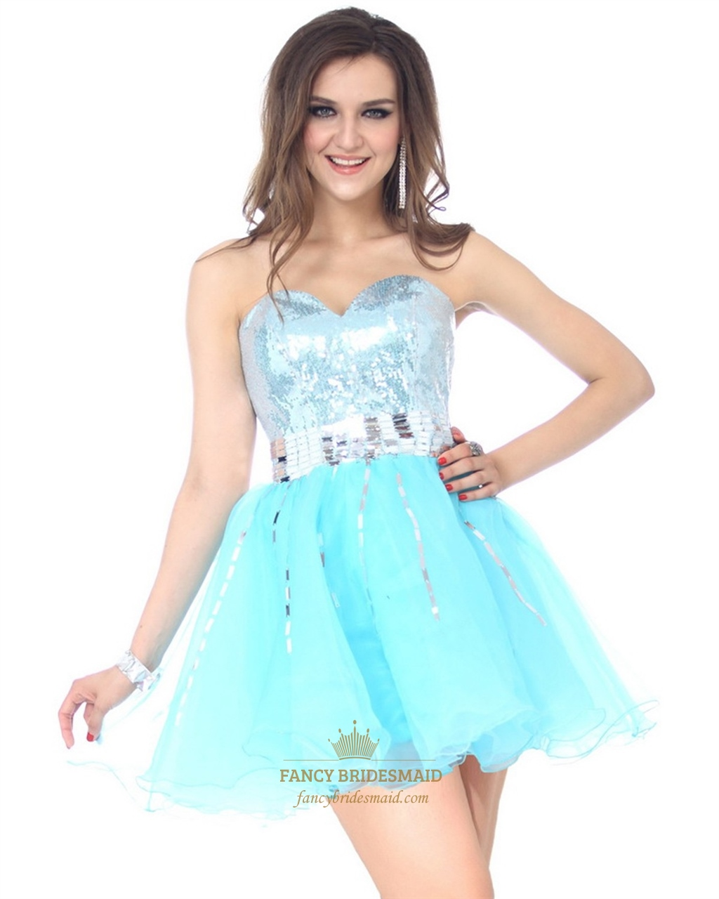 Aqua Blue Short Strapless Party Dress With Sequin Embellished Bodice ...