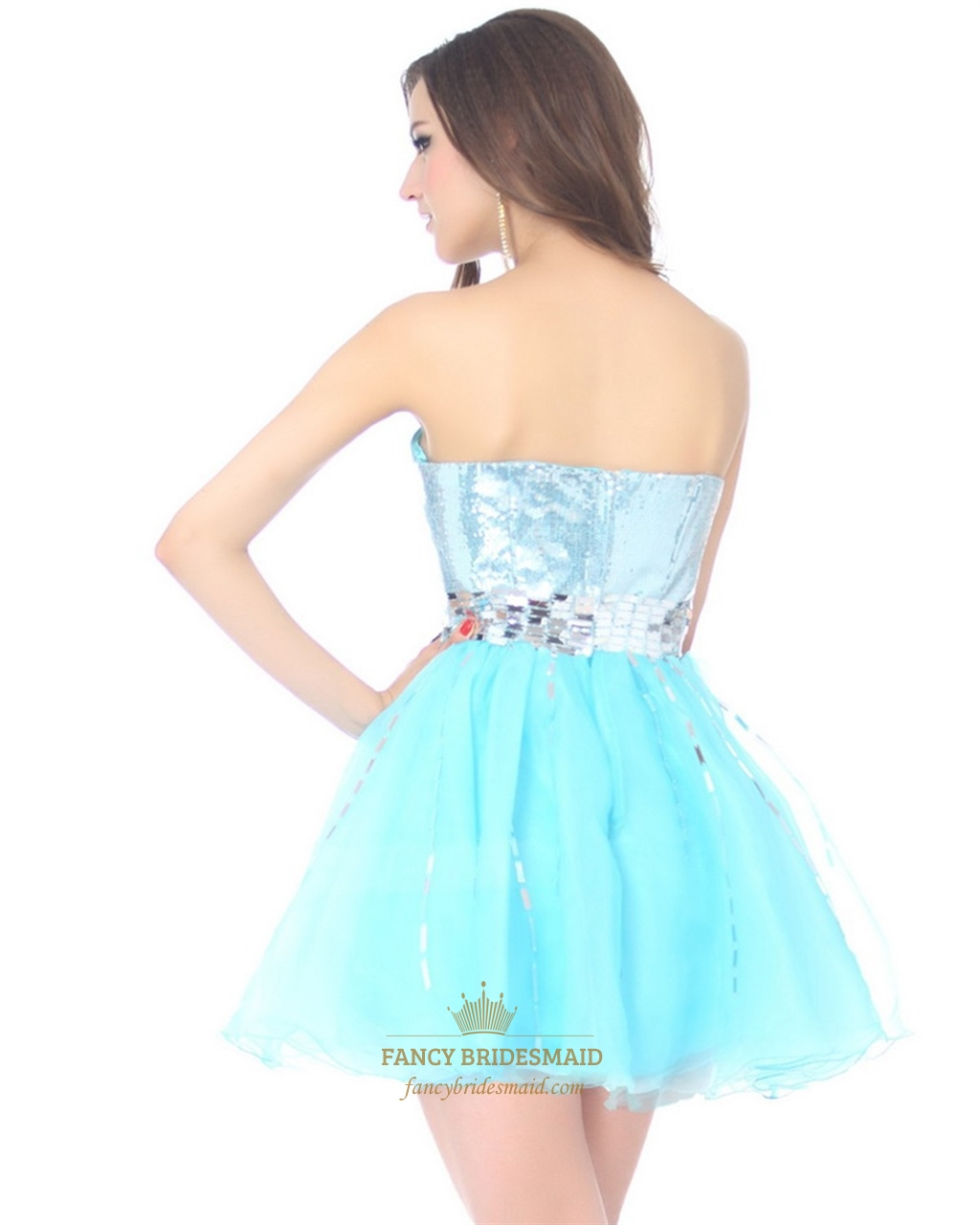 Aqua Blue Short Strapless Party Dress With Sequin ...