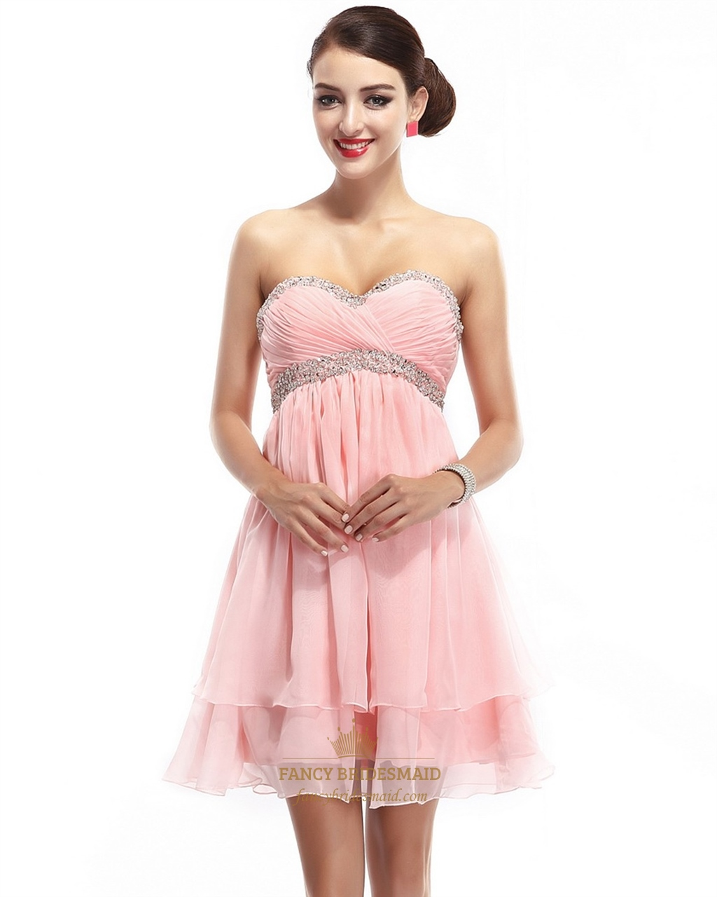 Pink Strapless Short Flowy Chiffon Bridesmaid Dress With Crystal ...