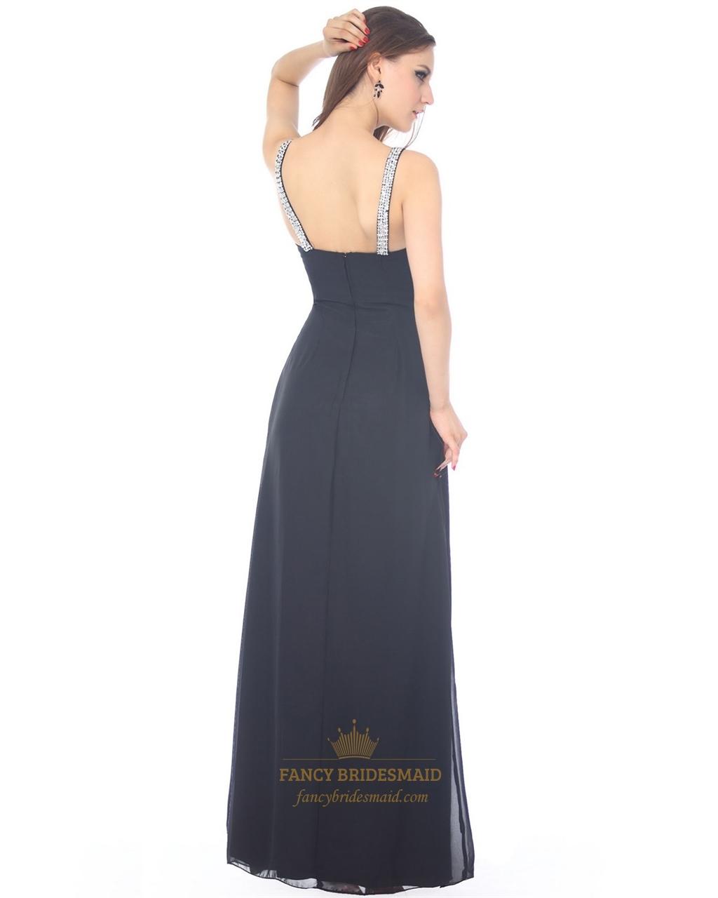 Navy Blue Sleeveless A-Line V-Neck Chiffon Prom Dress With ...