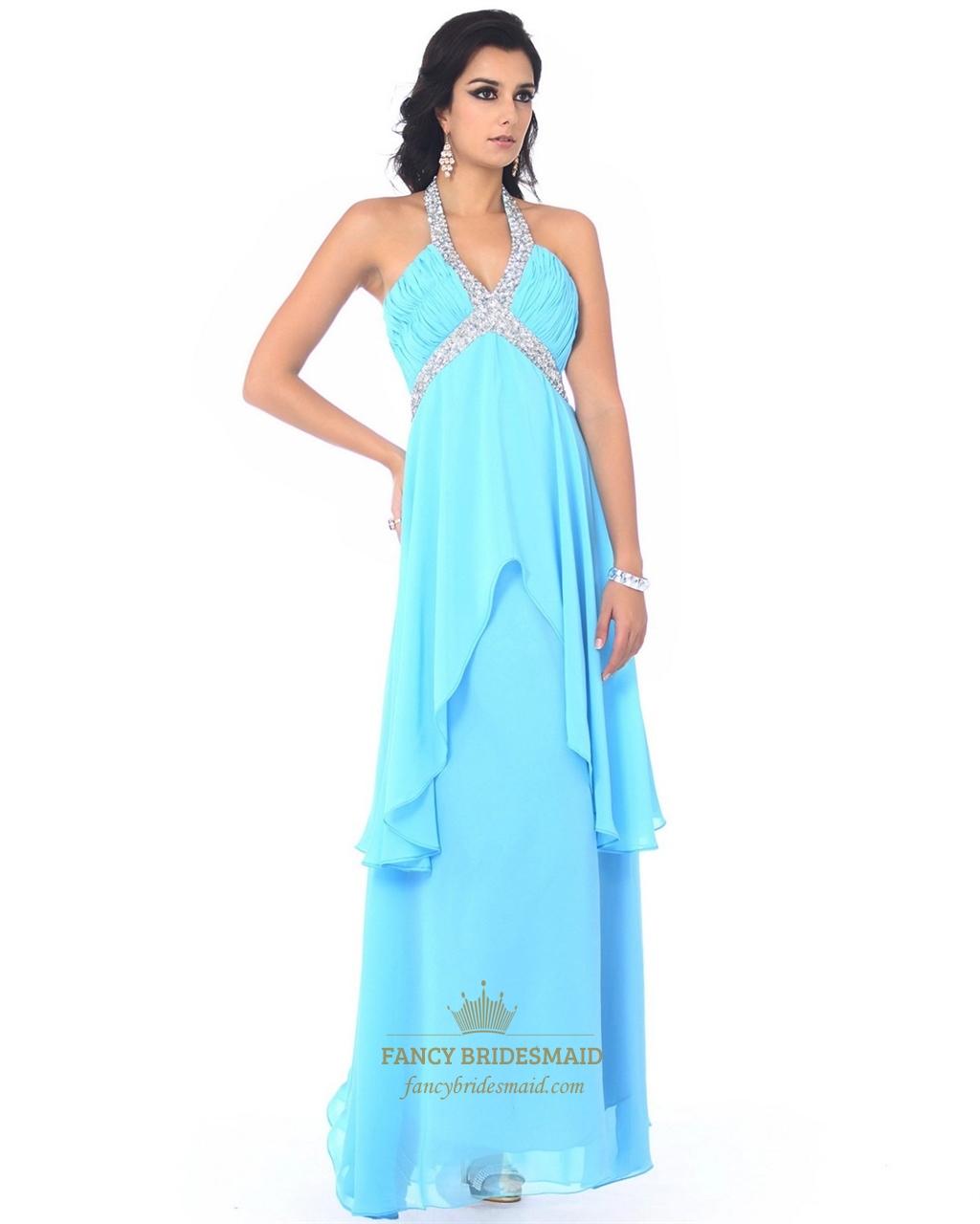 Aqua Chiffon Beaded V-Neck Halter Empire Prom Dress With Layered ...