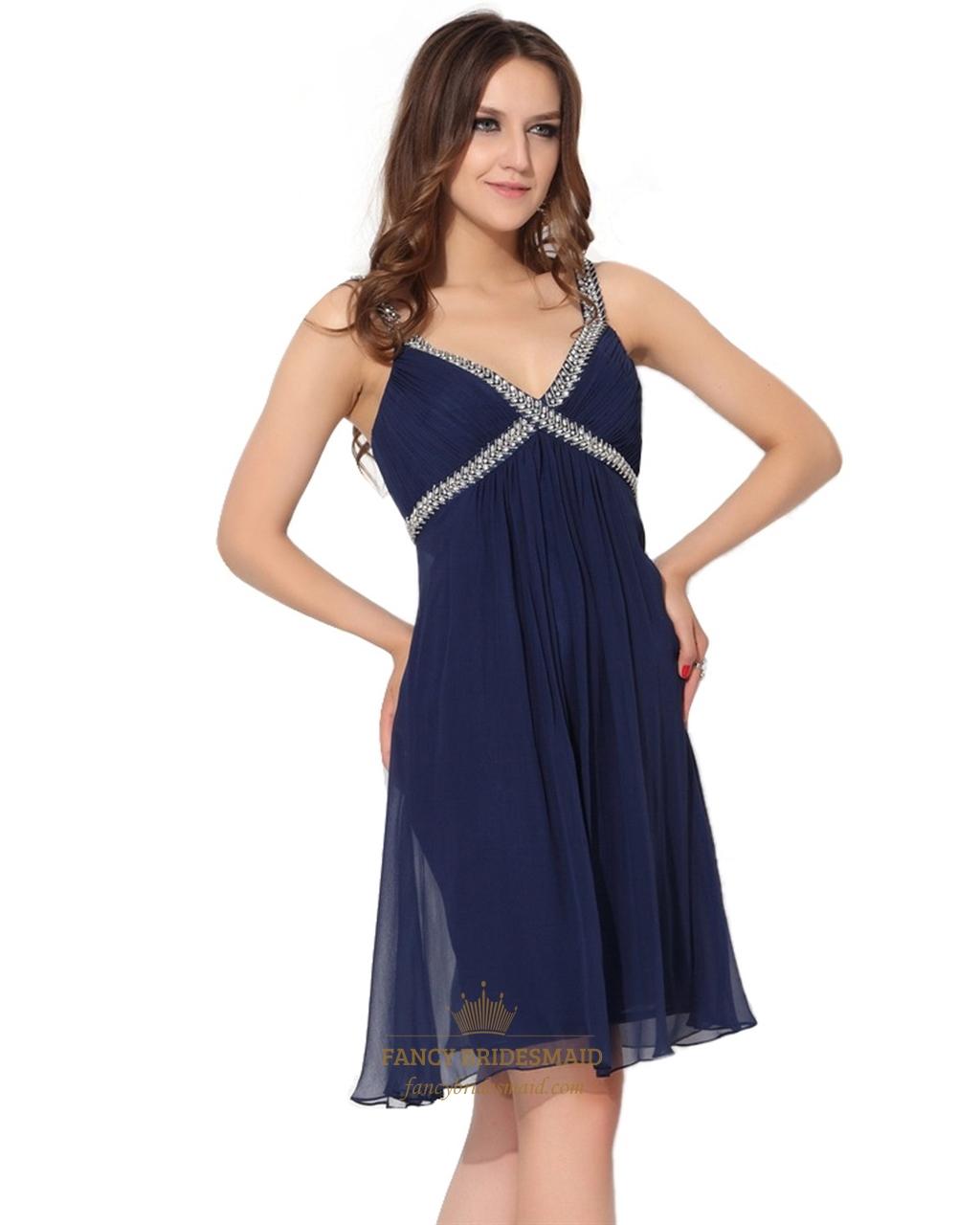 32cbce8f407ec3 Navy Blue Empire V-Neck Knee-Length Chiffon Cocktail Dress With Beading SKU  -NW575