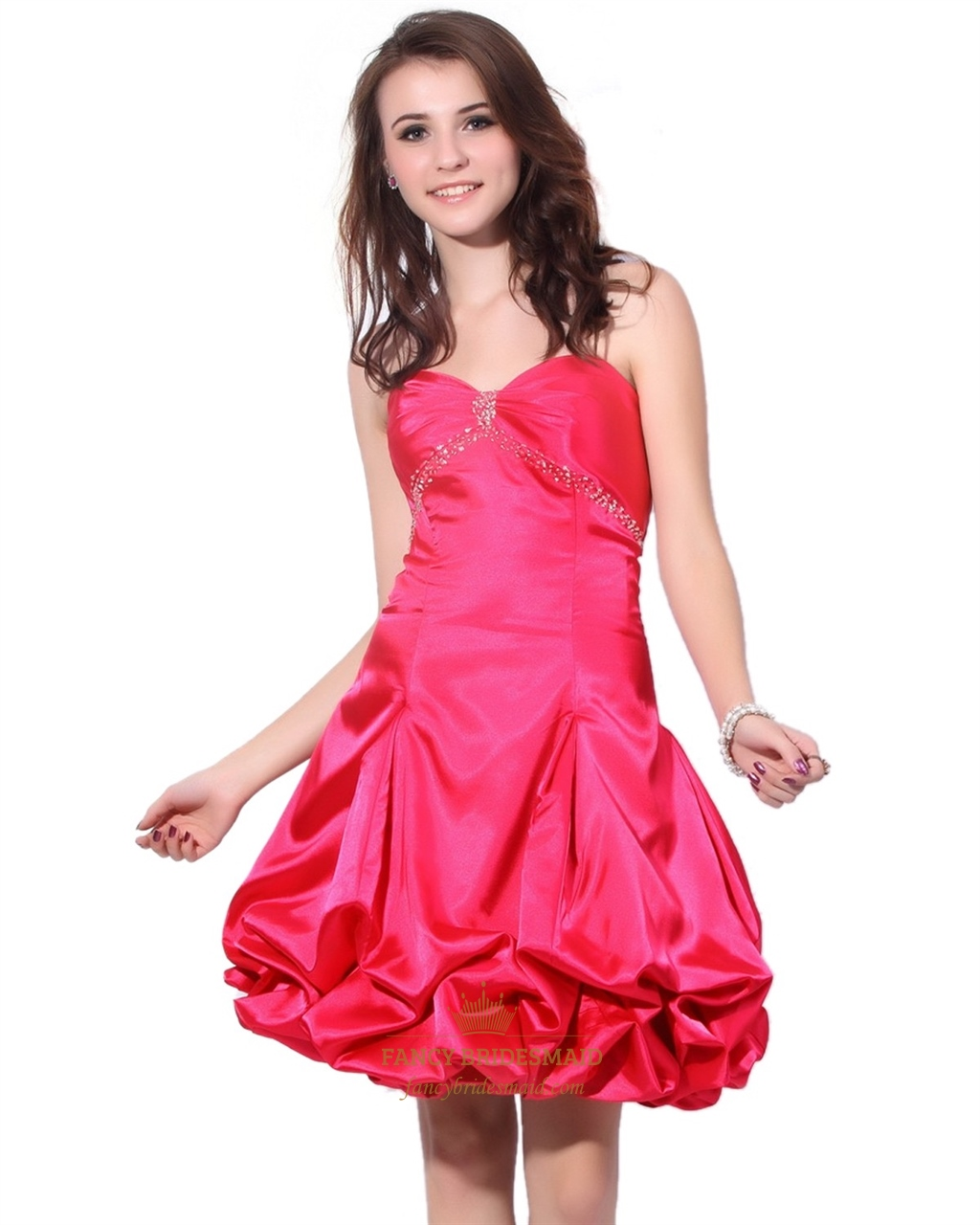 Hot Pink Empire Waist Strapless Taffeta Ruched Dress With Bubble ...