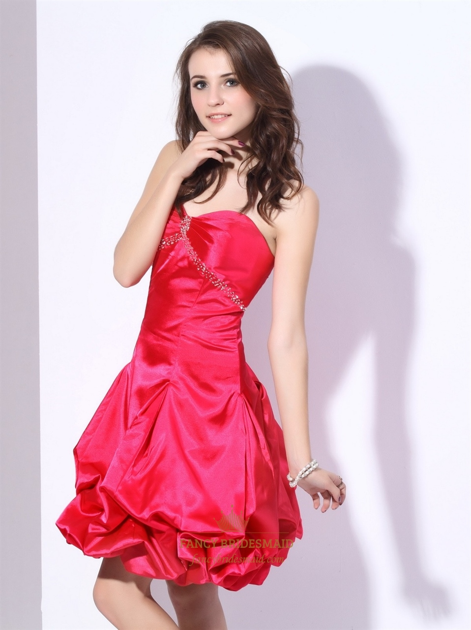 Hot pink empire waist strapless taffeta ruched dress with for Bubble skirt wedding dress