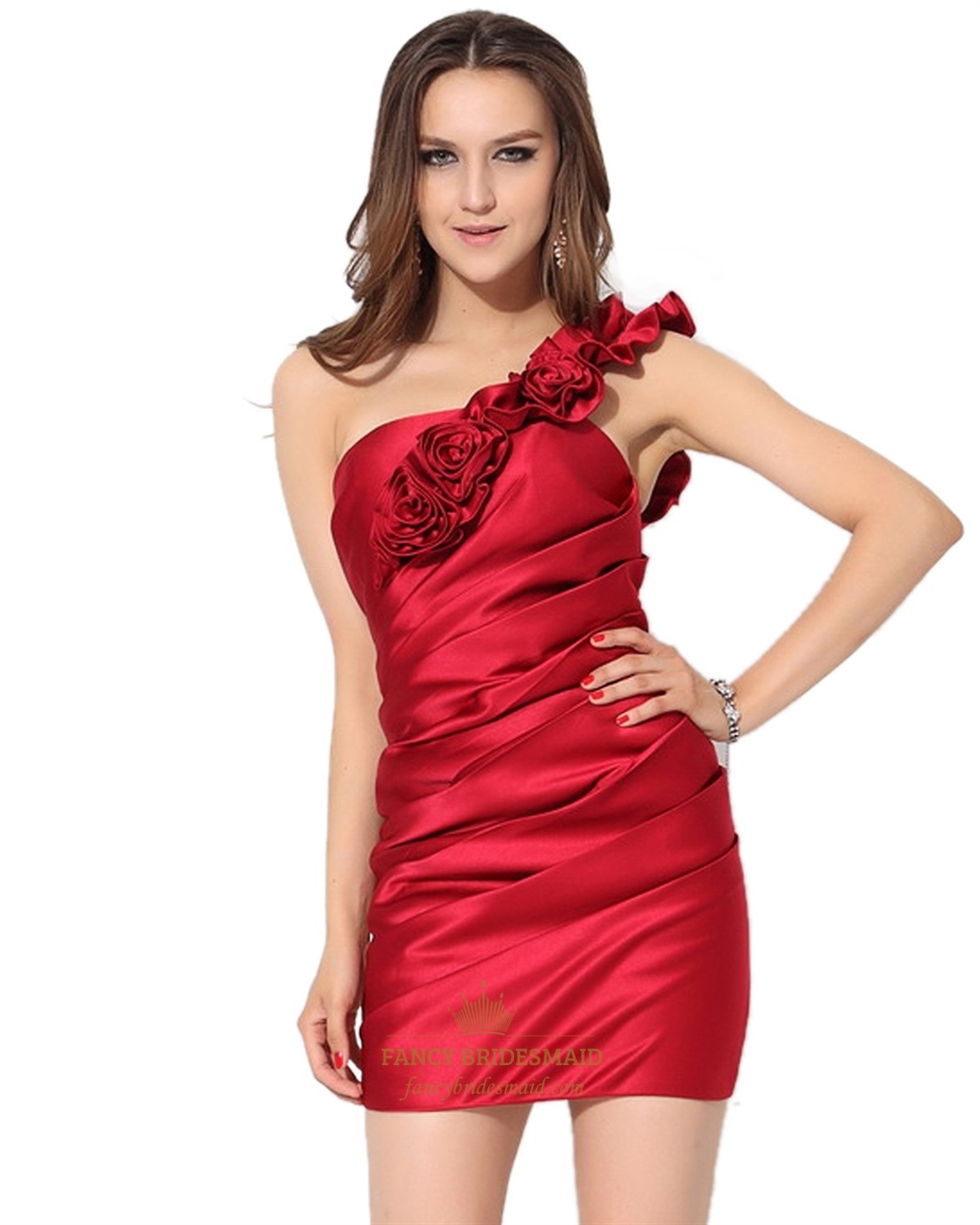 d4b774ce01 Red Ruched One Shoulder Sheath Mini Cocktail Dress With Flower Straps SKU  -NW588