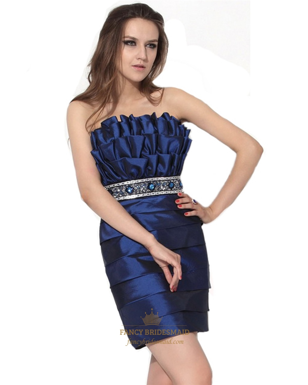 Royal Blue Embellished Short Strapless Cocktail Dress With Beaded ...