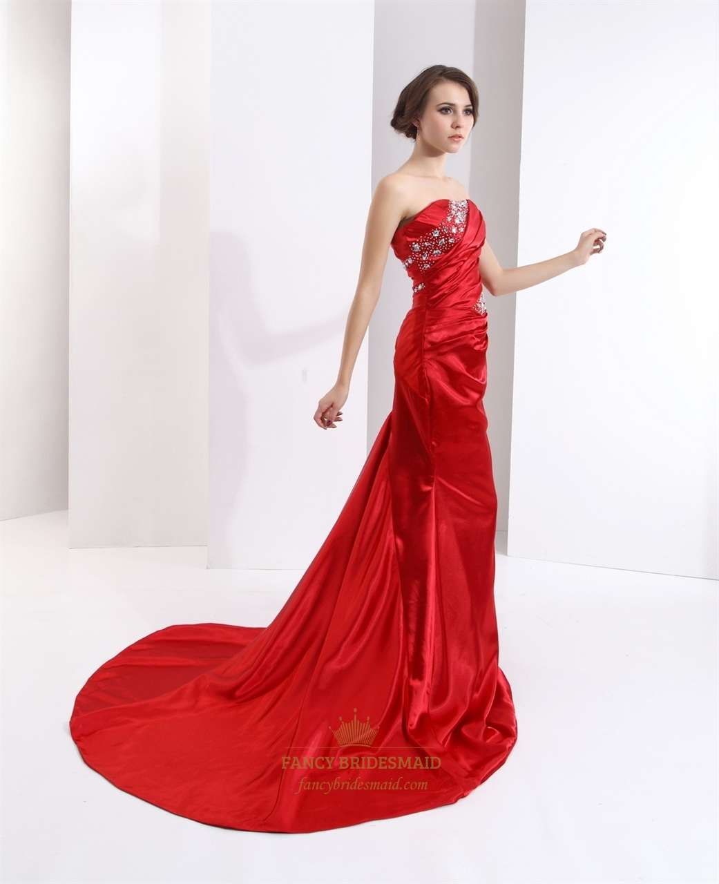 Red Mermaid Strapless Prom Dress With Ruched Bust And