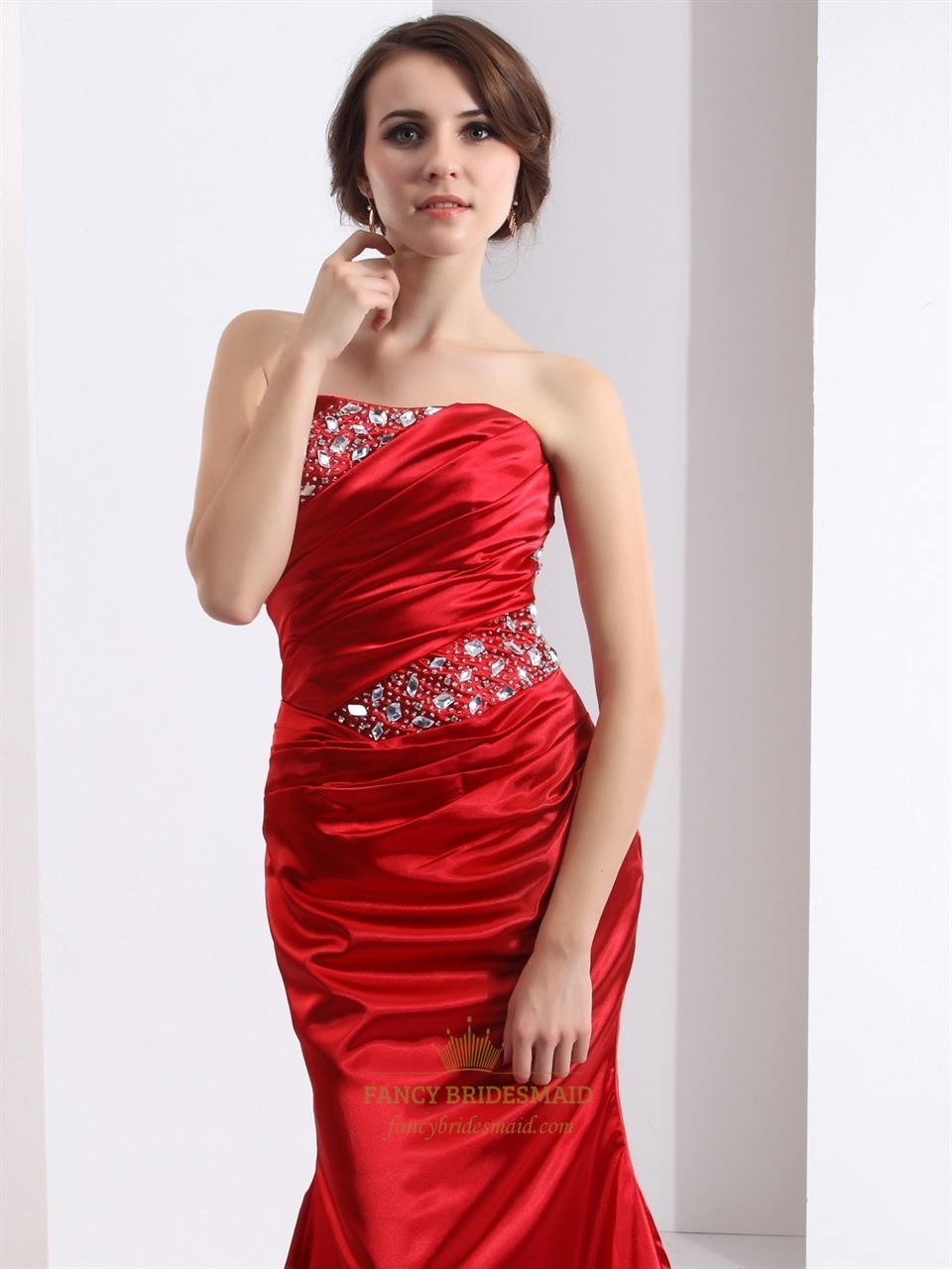 Red Mermaid Strapless Prom Dress With Ruched Bust And ...