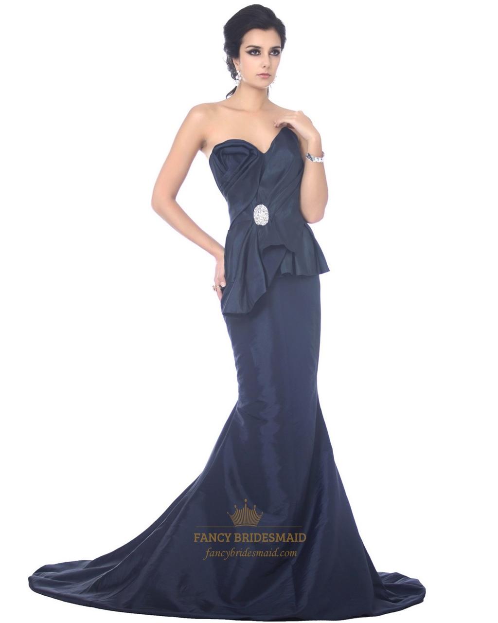 Navy blue taffeta mermaid sweetheart floor length prom for Prom dresses that look like wedding dresses