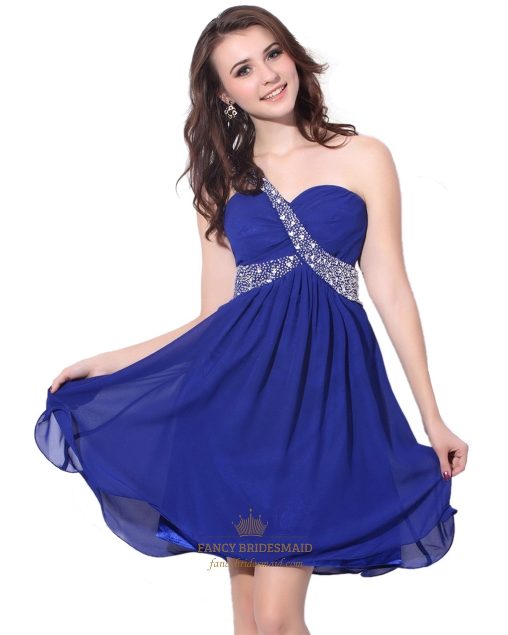 Royal Blue Chiffon Empire Waist Cocktail Dress With Single Beaded ...