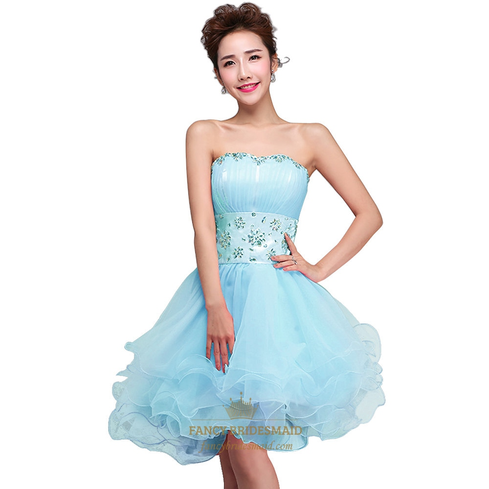 3dc2458410a Sky Blue Short Embellished Strapless Homecoming Dress With Beaded Waist SKU  -NW603