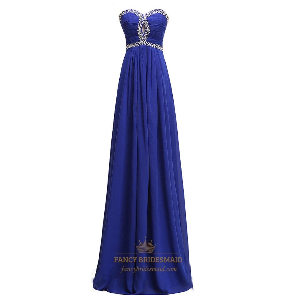 royal blue strapless keyhole chiffon prom dress with