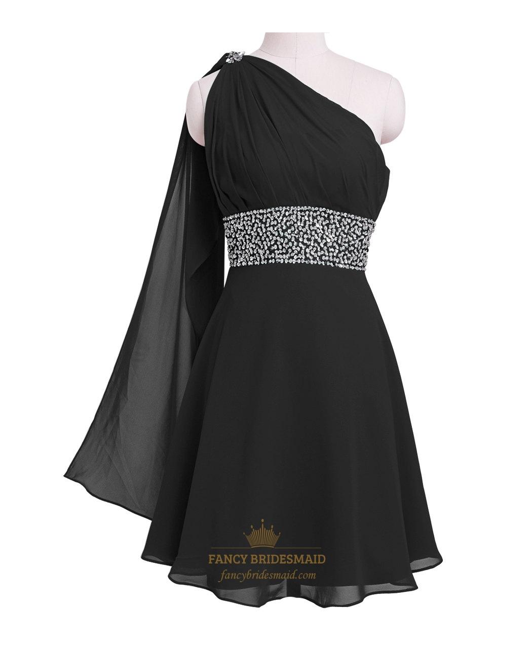 b05add07169 Little Black Short One Shoulder Chiffon Cocktail Dress With Beaded Waist  SKU -NW605