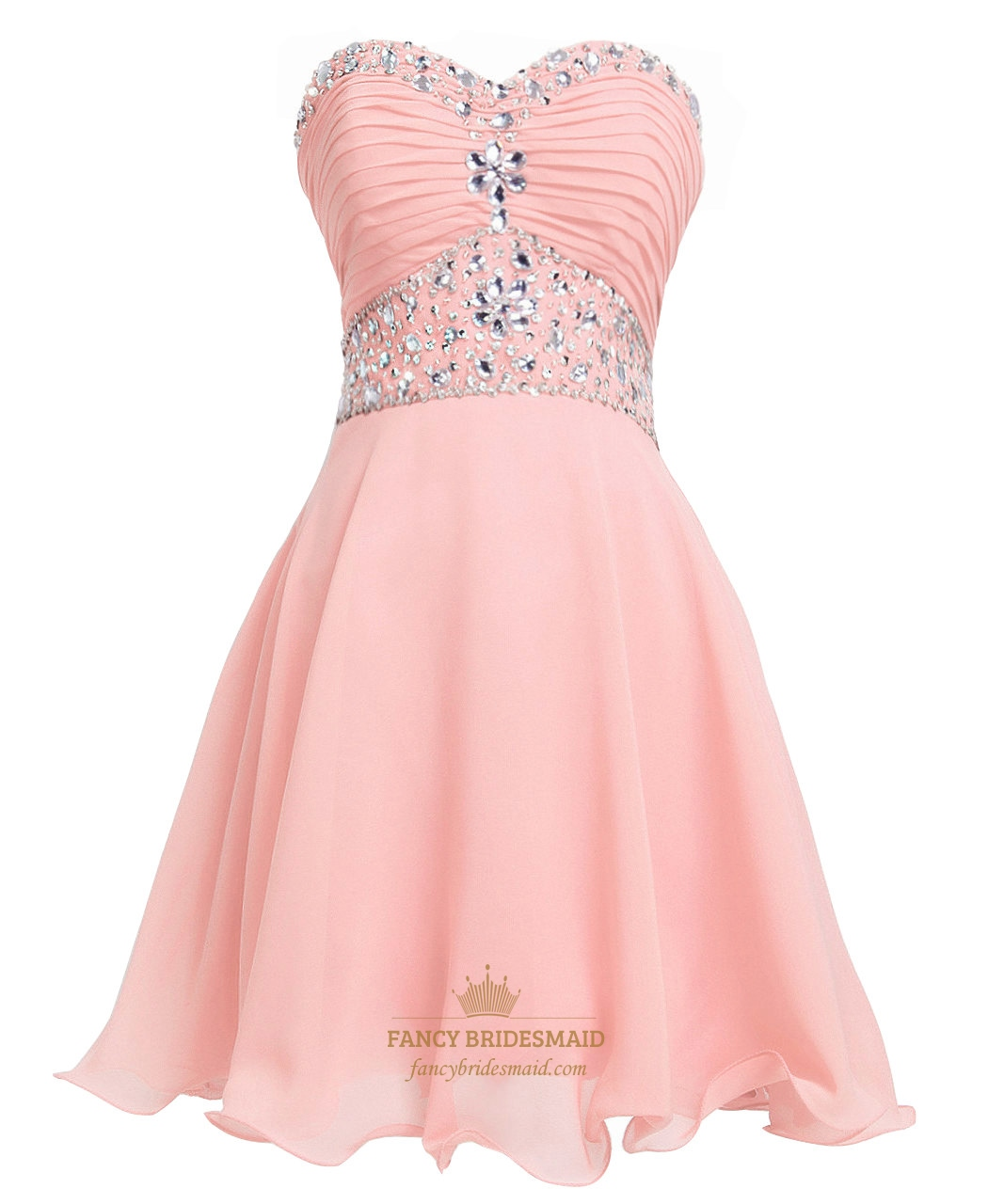 Peach Chiffon Short Embellished Strapless Homecoming Dress With ...