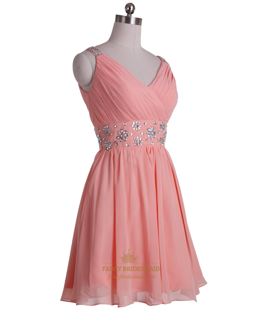 5fa426cacb6b34 Coral A-Line V-Neck Knee-Length Chiffon Cocktail Dress With Beaded Waist  SKU -NW609