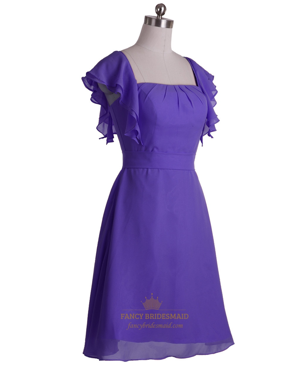 purple chiffon aline knee length bridesmaid dress with
