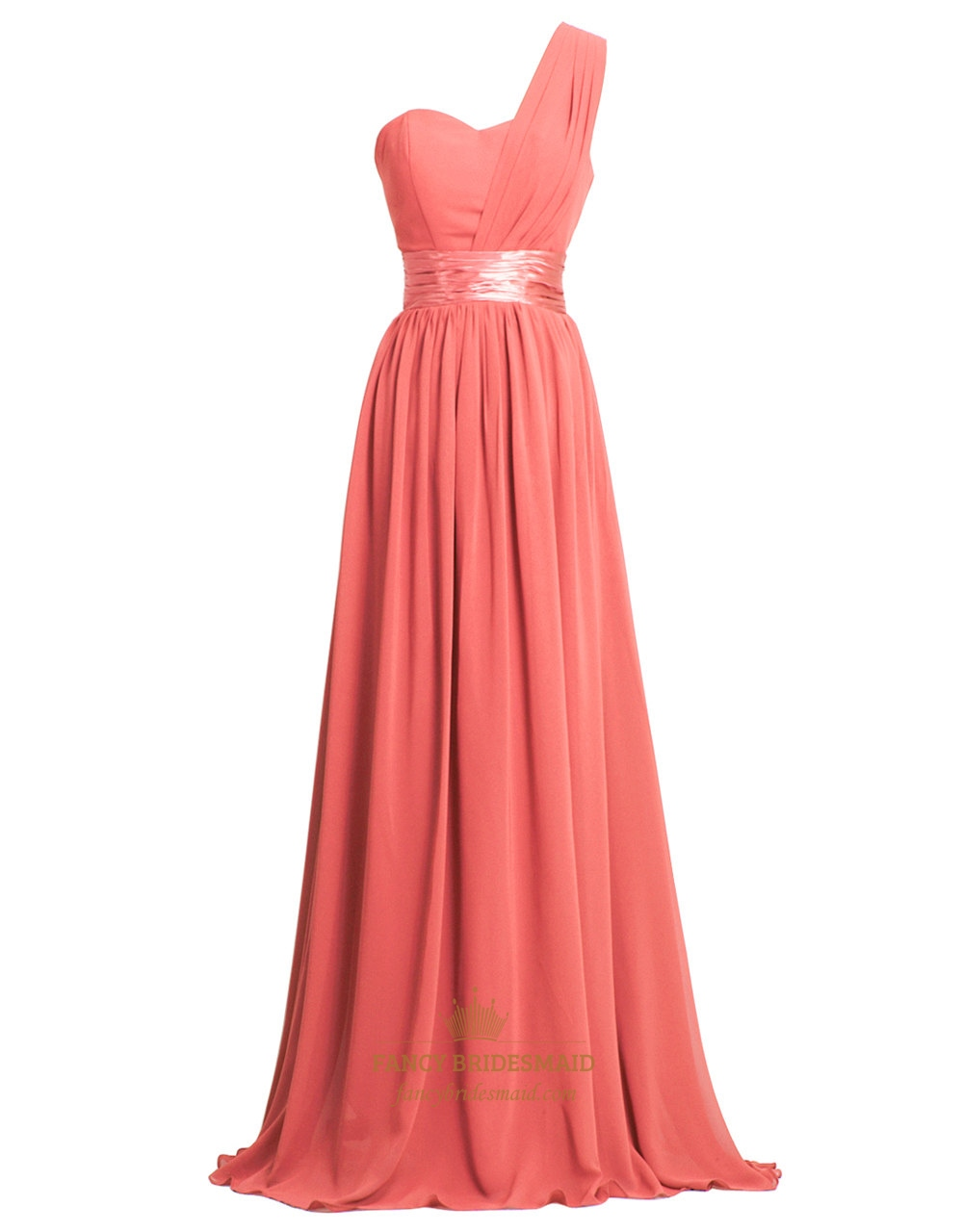Coral Chiffon Long One Shoulder Sweetheart Bridesmaid
