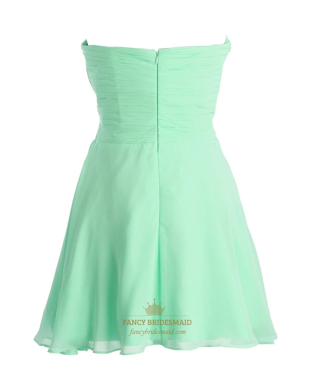 Short green chiffon bridesmaid dresses bridesmaid dresses for Short green wedding dresses