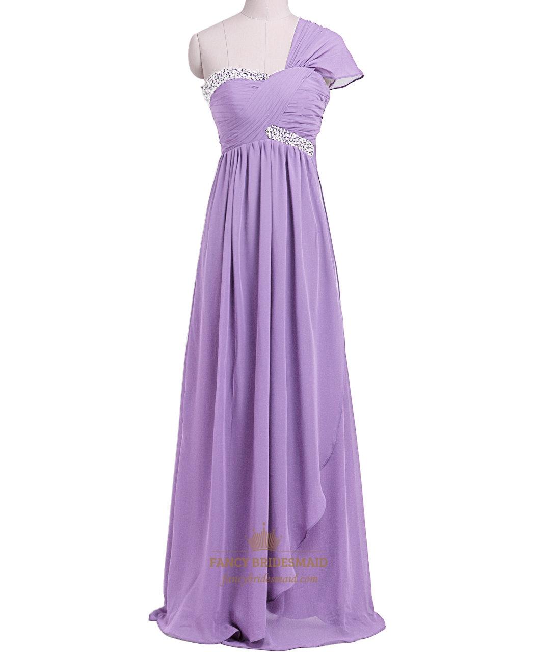 Lilac Beaded Empire Waist Chiffon Bridesmaid Dress With Ruffled ...