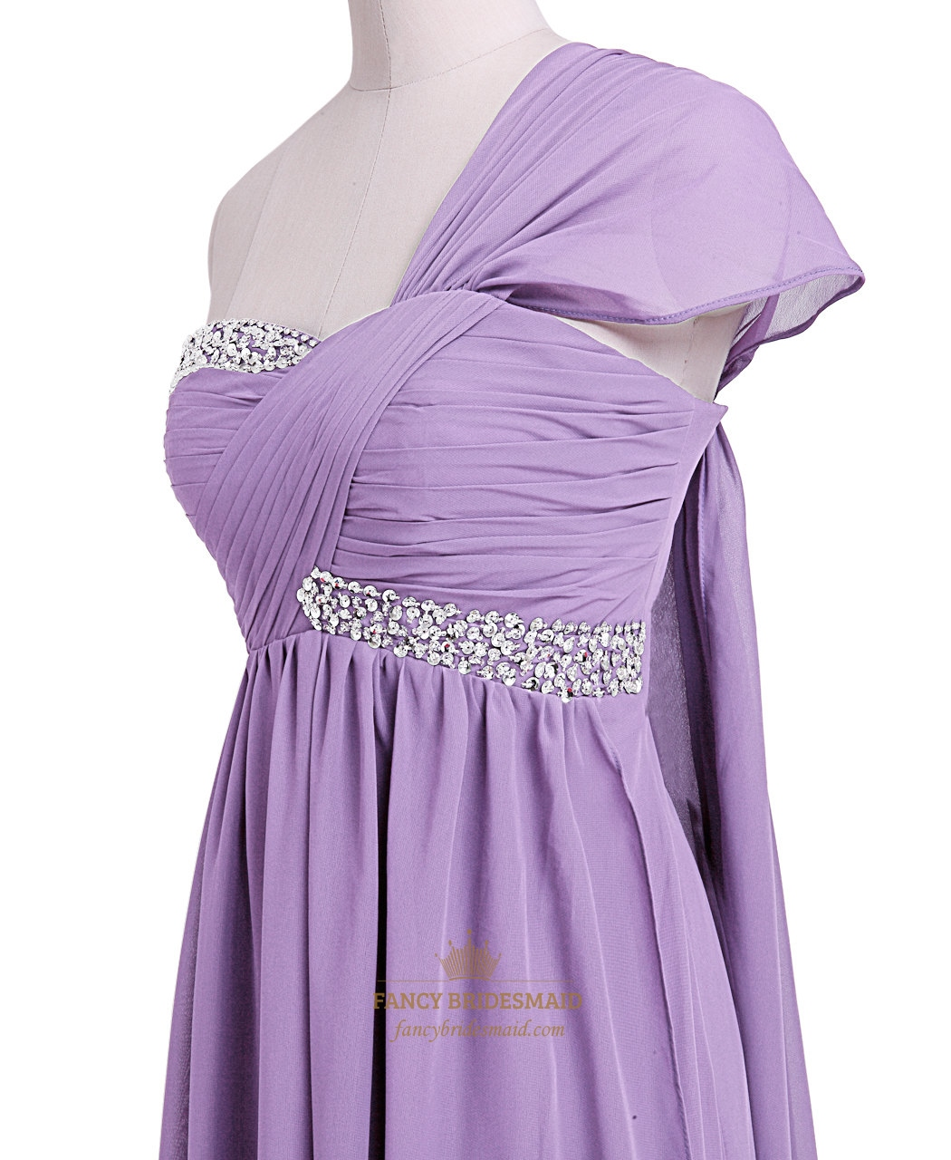 lilac beaded empire waist chiffon bridesmaid dress with