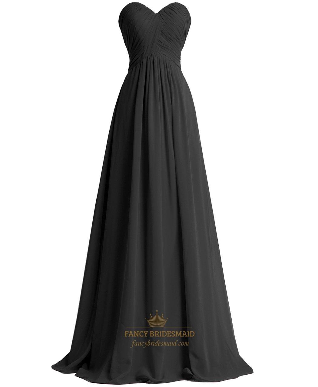 ba89b5b46fc9 Black Empire Waist Strapless Sweetheart Chiffon Pleated Bridesmaid Dress  SKU -NW621