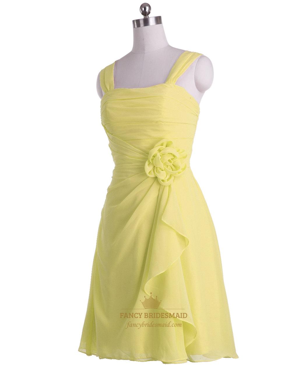 Yellow Chiffon Bridesmaid Dresses 69