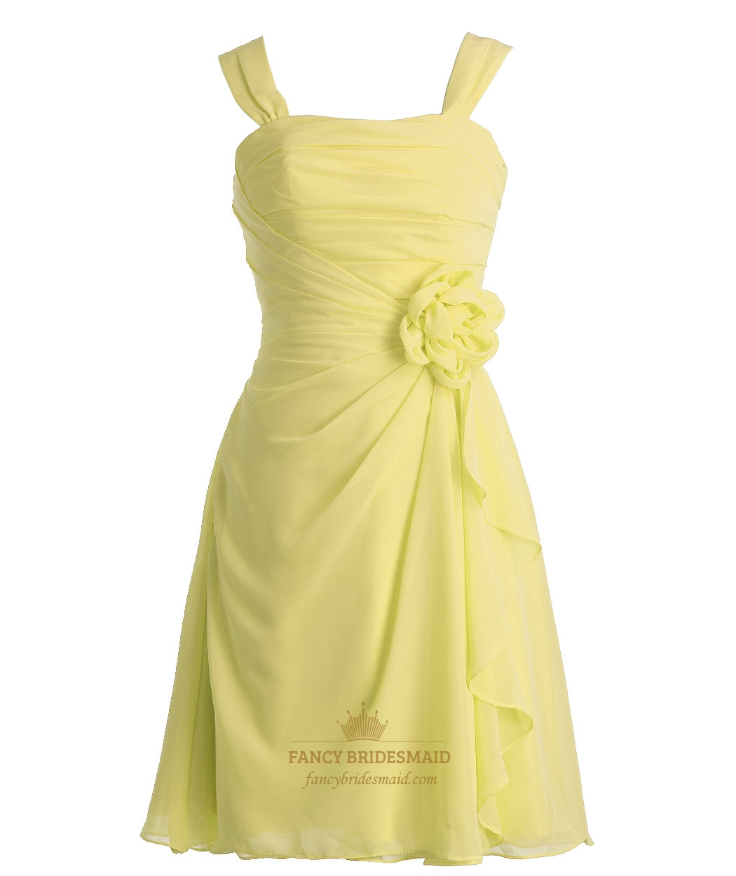 Yellow Short Crinkle Chiffon Pleated Bridesmaid Dress With