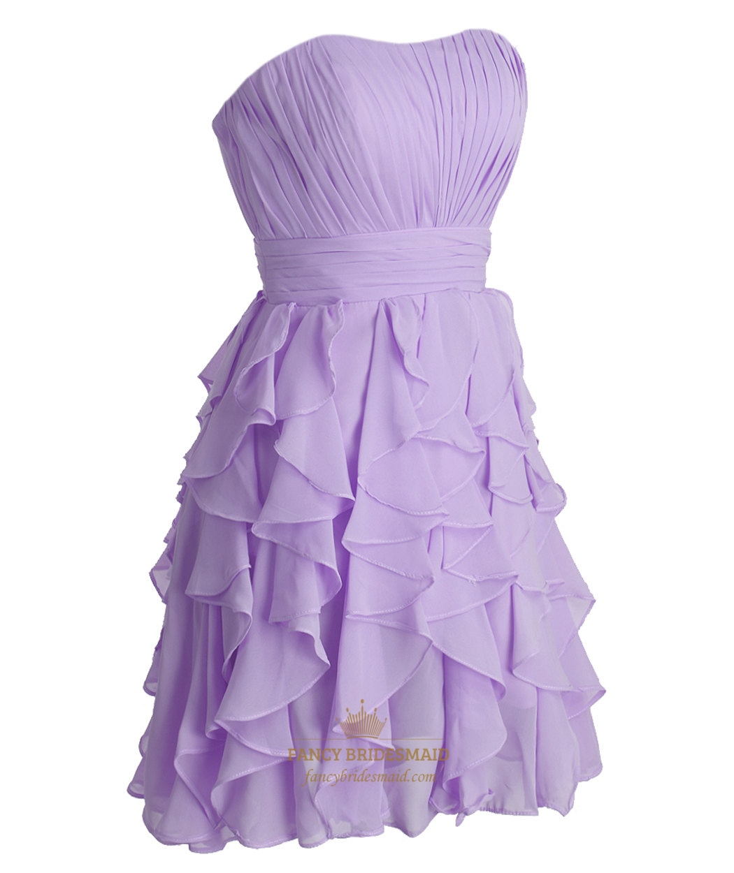 lilac pleated strapless chiffon short bridesmaid dress