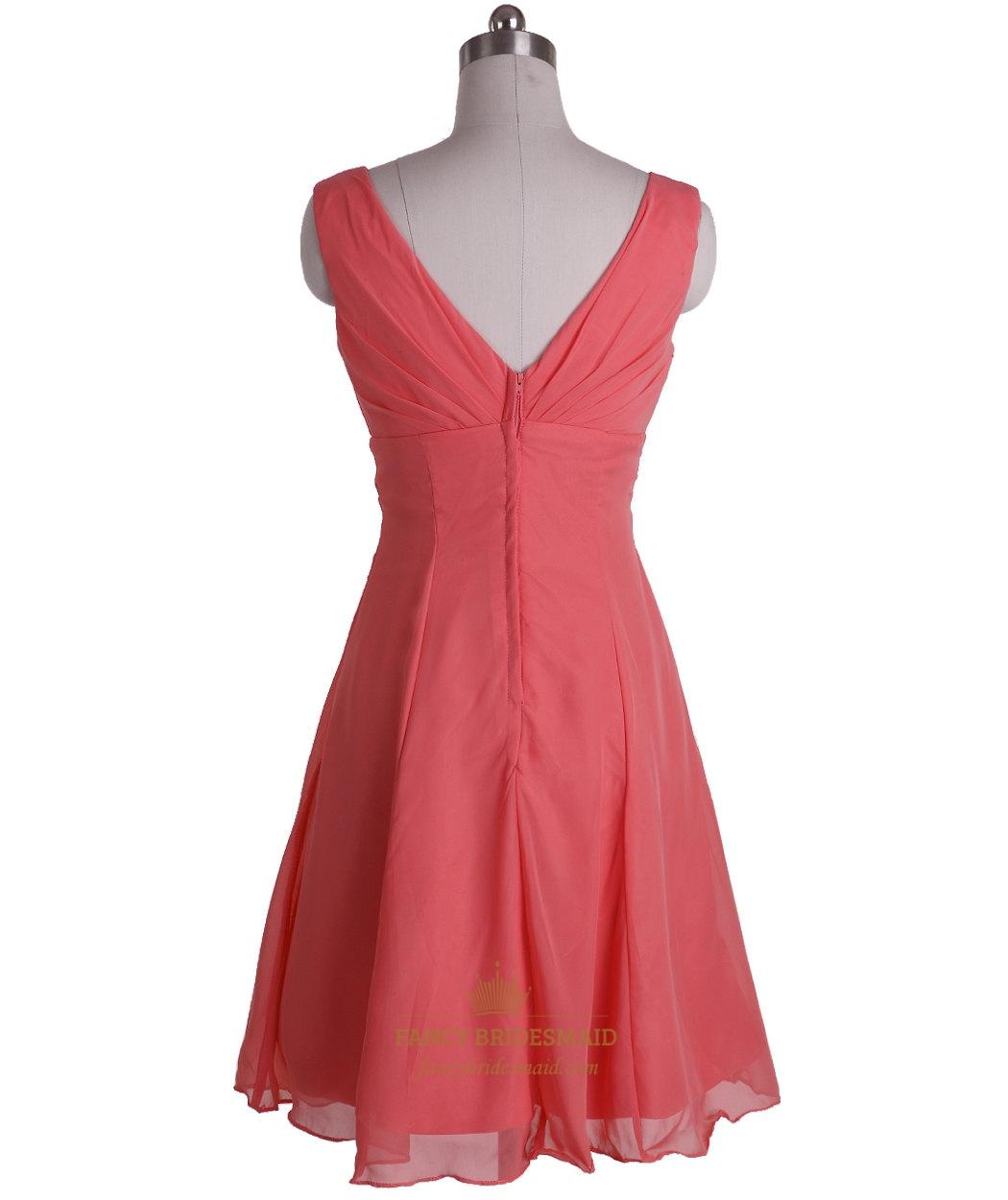 coral chiffon empire waist aline vneck sleeveless short