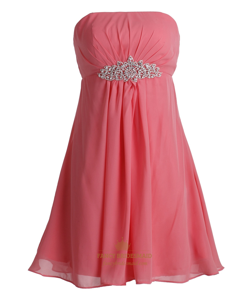 Coral Chiffon Empire Strapless Short Bridesmaid Dresses With ...