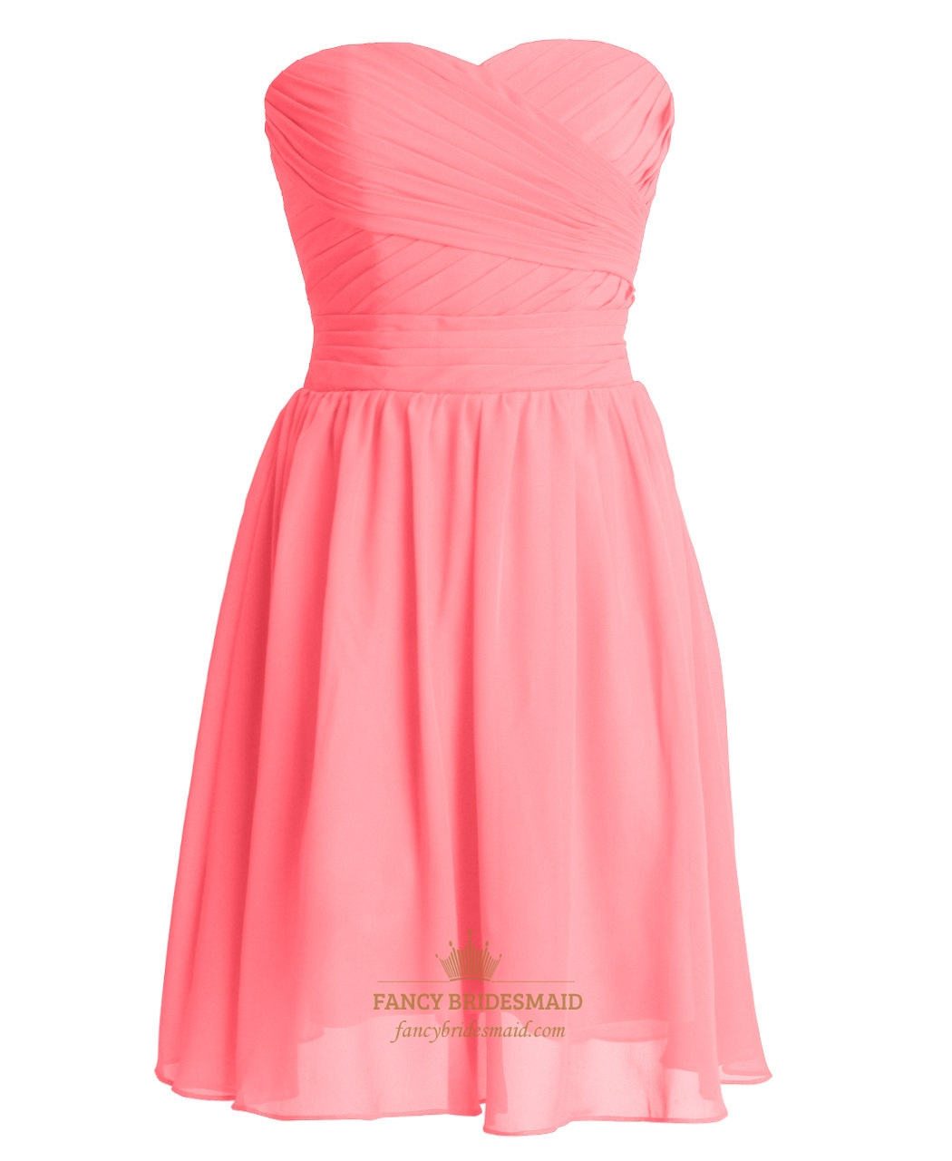 Coral Chiffon Short Strapless Sweetheart Bridesmaid Dresses With ...