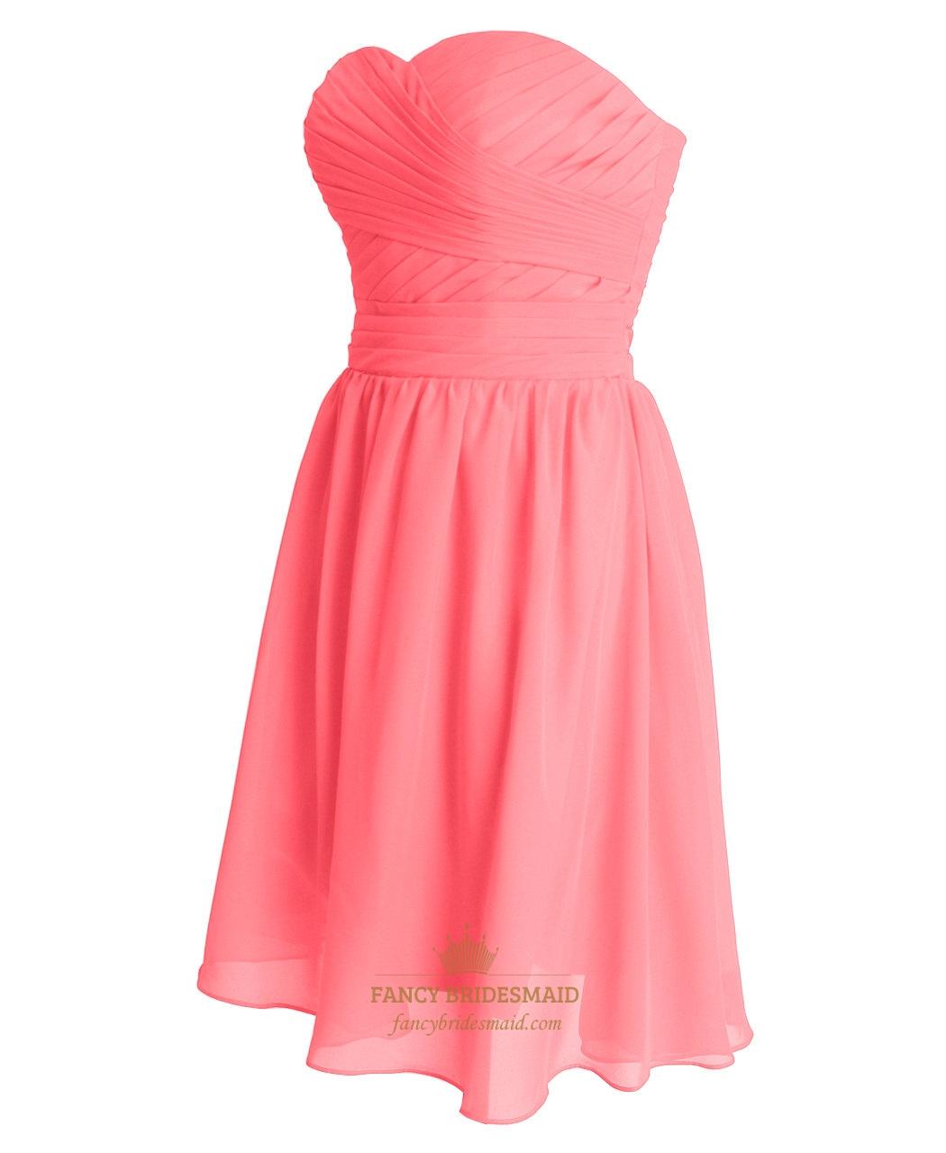 coral chiffon short strapless sweetheart bridesmaid