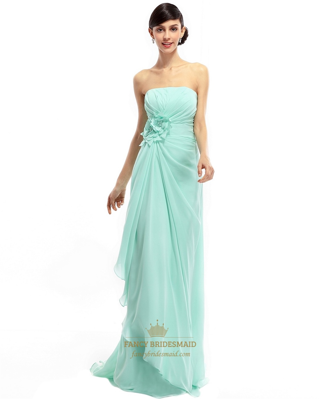 Mint Green Chiffon Strapless Bridesmaid Dress With Cascading Ruffles ...