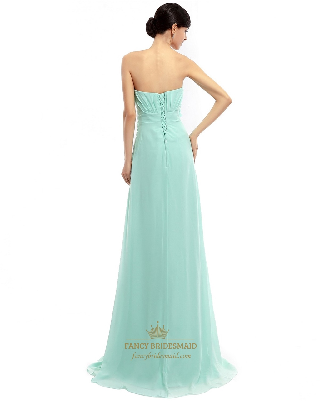 Mint Green Chiffon Strapless Bridesmaid Dress With ...
