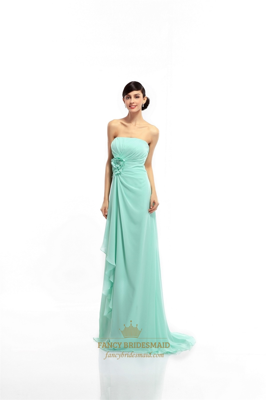 Mint green chiffon strapless bridesmaid dress with for Mint green wedding dress