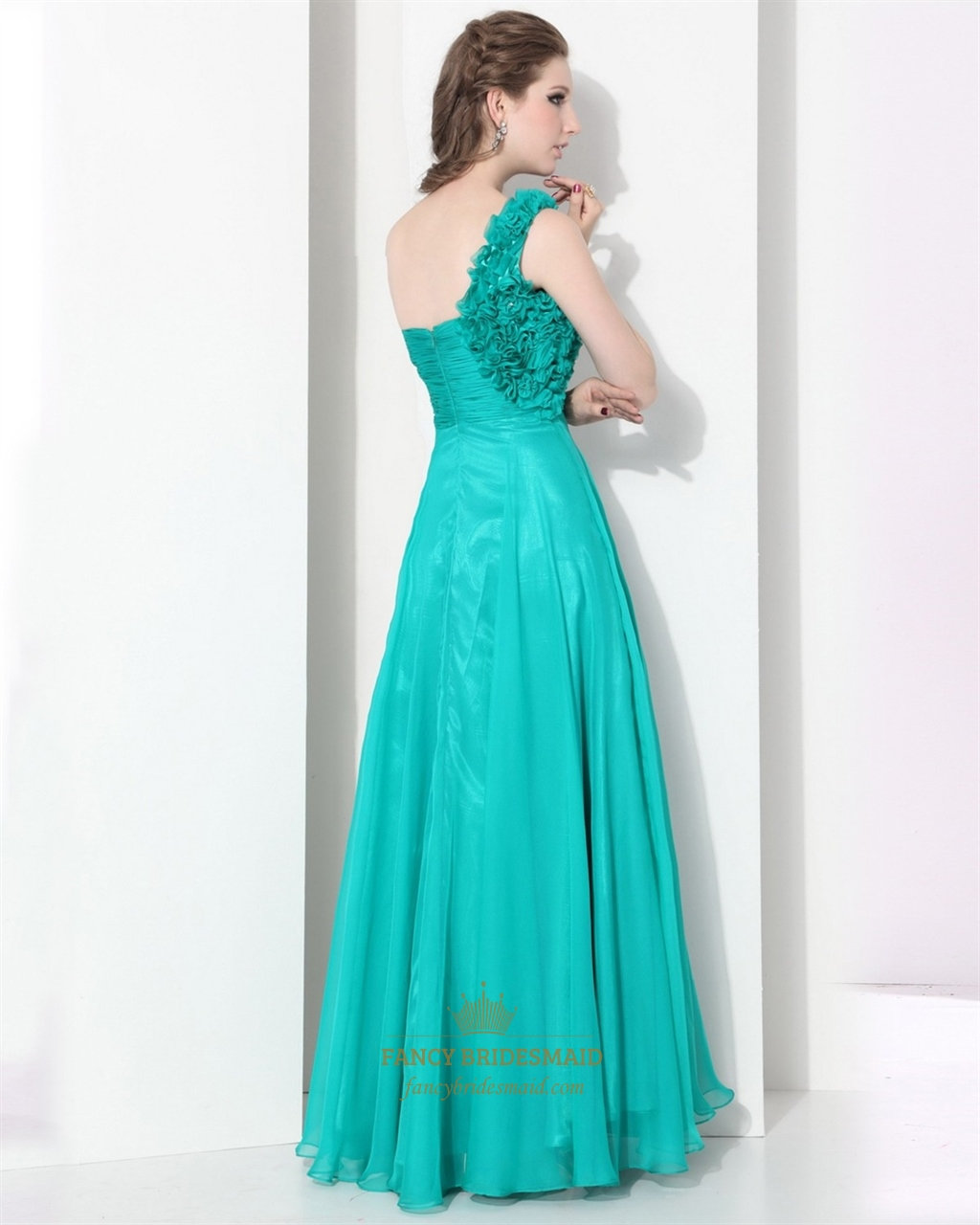 Turquoise chiffon one shoulder sweetheart flower strap for Turquoise wedding dresses for bridesmaids