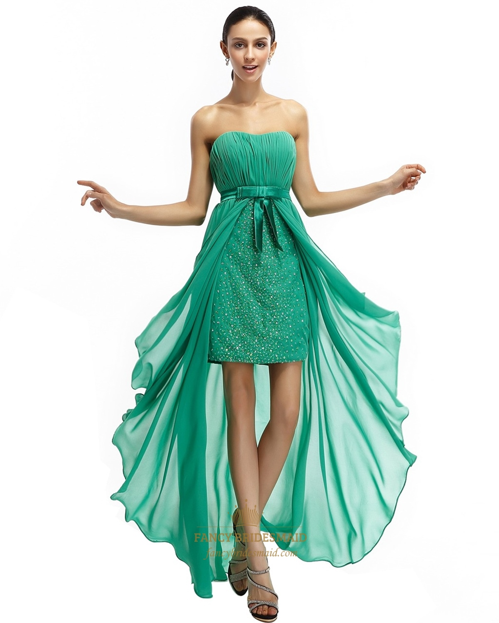 Green Strapless Short Dress Chiffon Prom With Floor Length Sheer ...