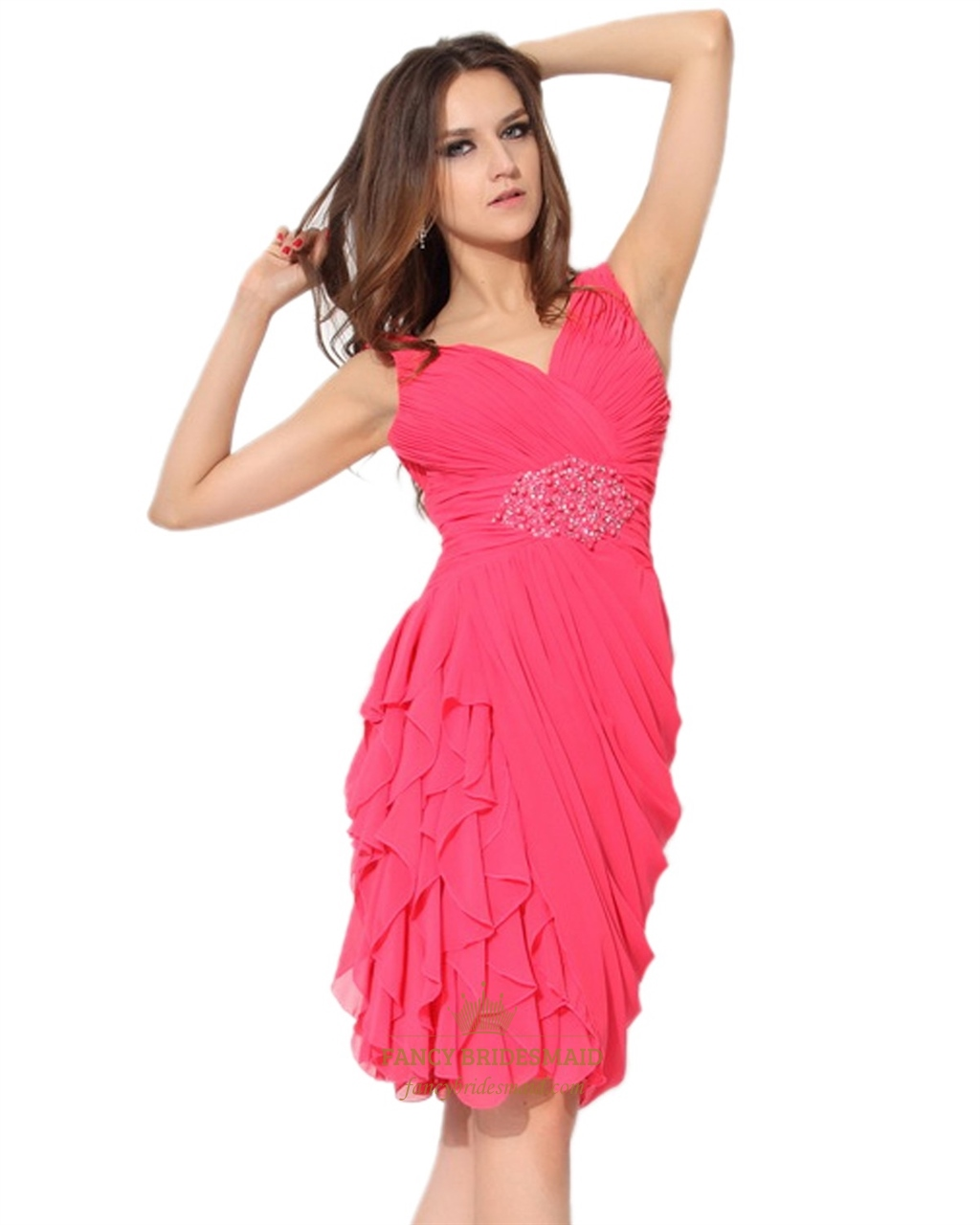 Hot Pink V-Neck Side Draped Chiffon Gown With Cascading Ruffle Skirt ...