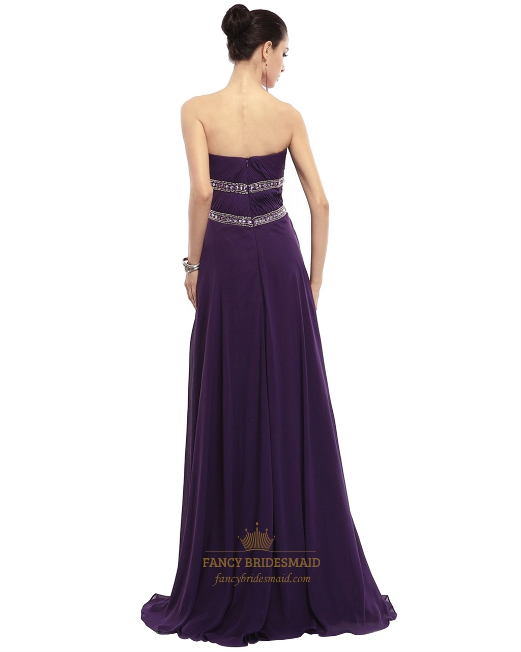 Embellished Bodice Strapless Wedding Gown: Purple Sweetheart Strapless Beaded Chiffon Dress With
