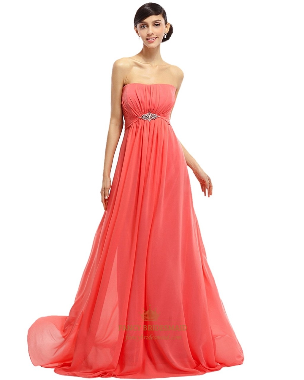 Coral Wedding Gowns: Coral Chiffon Strapless Empire Bridesmaid Dresses With