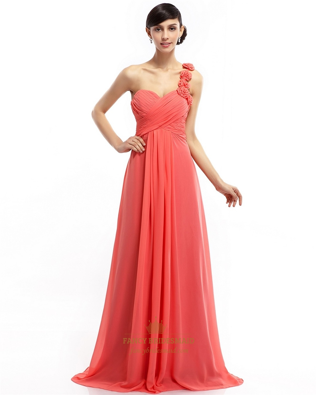 Coral empire one shoulder chiffon bridesmaid dress with ruffle coral empire one shoulder chiffon bridesmaid dress with ruffle flower ombrellifo Image collections