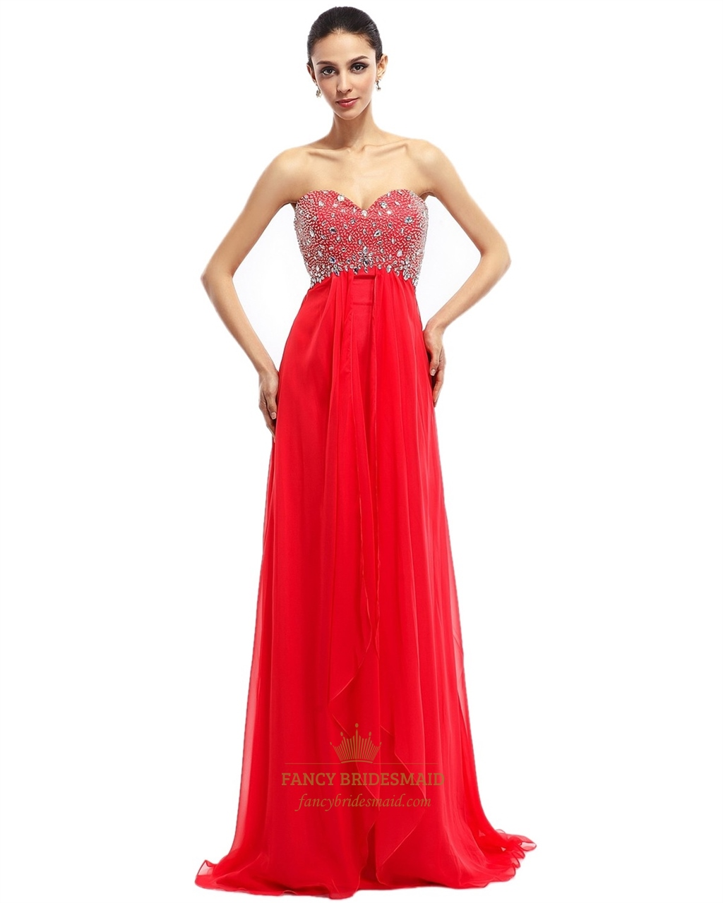 eab59daed3f Red Short Strapless Asymmetrical Bridesmaid Dresses With Flower Detail SKU  -NW644